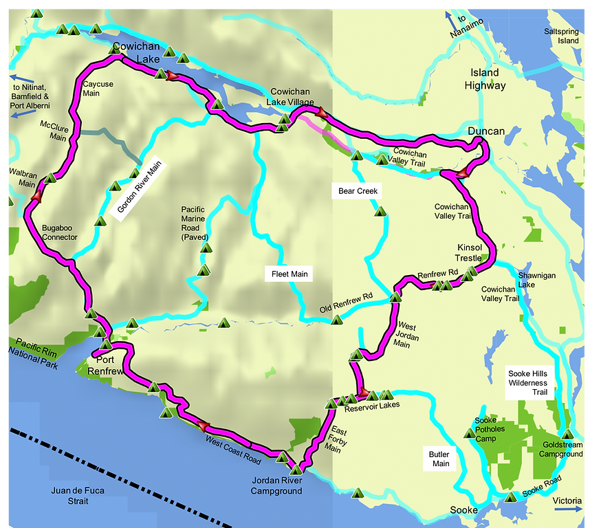 Fav ride route map | bikepacking Cowichan Lake SW Island | cycle touring south Vancouver Island