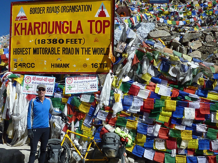 Khardung la Pass, Ladakh, international cycle tour, north India Himalayas