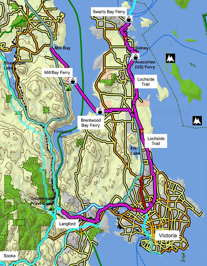 Cycling route map | Lochside Regional Cycling Trail | Mill Bay to Brentwood Bay Ferry connector  | cycle touring Vancouver Island