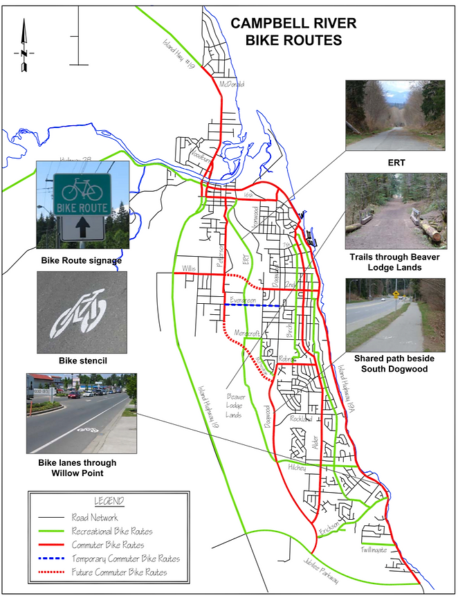 Campbell River bike routes map |  cycle touring Campbell River