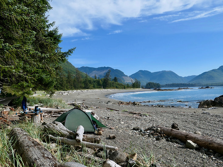 Side Bay Campsite | bikepacking west from Port Alice | cycle touring north Vancouver Island