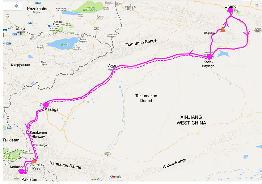 Cycle touring route map | Xinjiang & Karakorum Highway | cycling north Pakistan