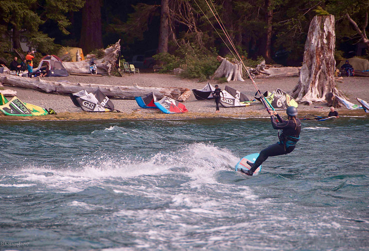 Kite skiing Lake Nitinat   Cowichan Nitinat Port Albeni fav backroads ride   cycle touring Vancouver Island