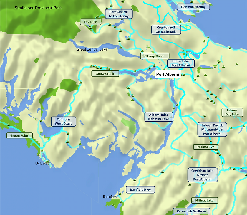 Port Alberni area map | Fav rides & campgrounds | cycle touring Vancouver Island