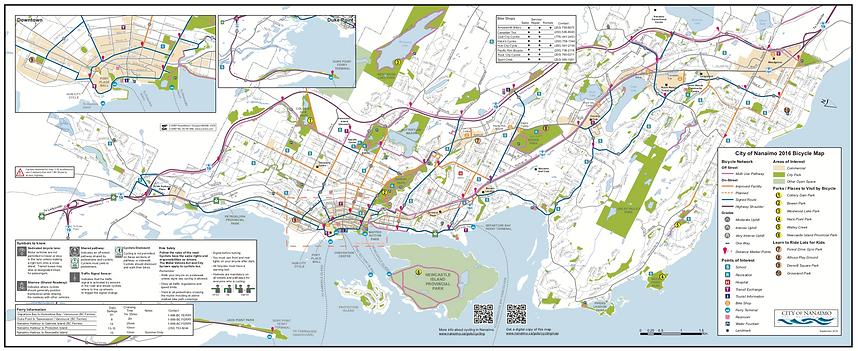 Nanaimo cycling map | cycle touring routes Nanaimo