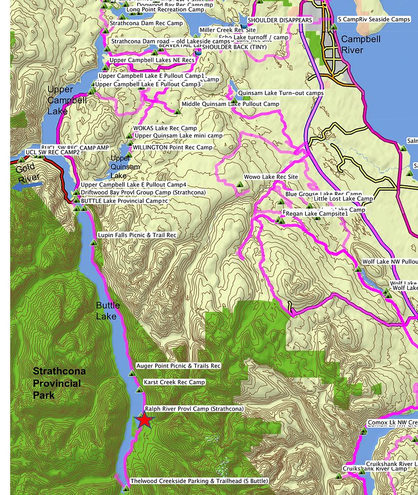 Location & map | Ralph River Provincial Campground | cycle touring Vancouver Island