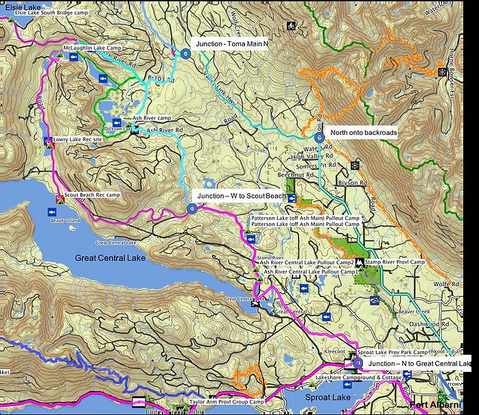 Fav ride route map (2 pf 3) | start near Port Alberni & Great Central Lake | bikepacking Port Alberni to Courtenay