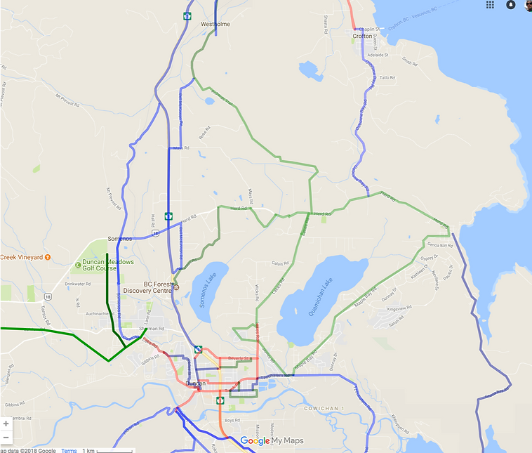 Cycling routes Duncan | Off-highway cycling routes