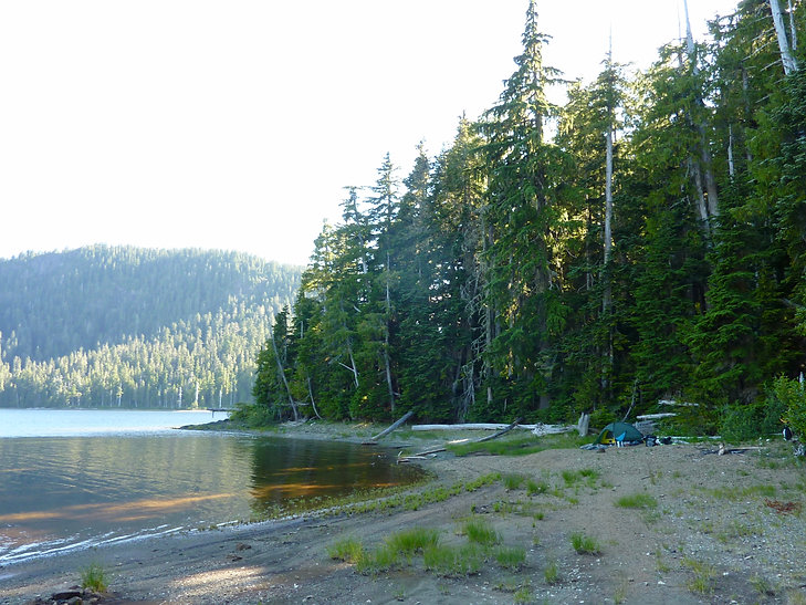 Tsable Lake camp | bikepacking SW of Courtenay | cycle touring Vancouver Island