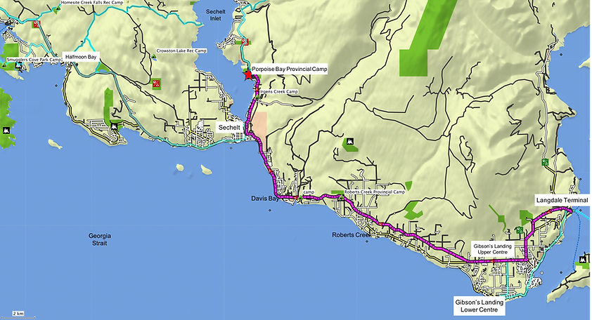 Fav ride route map | Langdale to Sechelt | bike touring Sunshine Coast