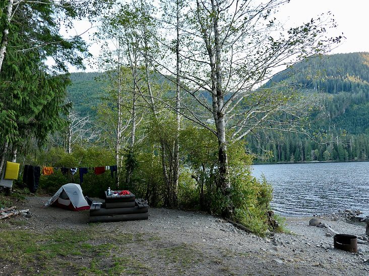 Muchalat Lake Rec Campground | bikepacking north from Gold River | cycle touring Vancouver island