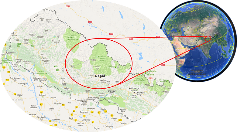 World location map | cycle touring Nepal | cycle touring Upper Mustang