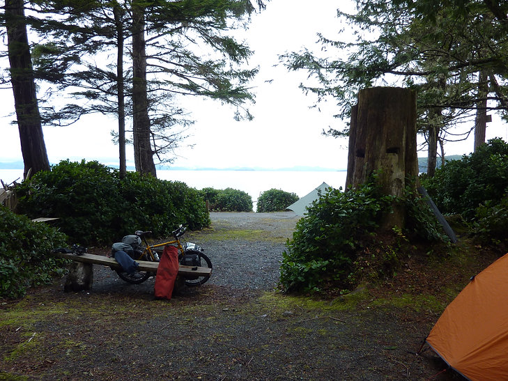 Looking over Queen Charlotte Strait   Bere Point Regional Campground   cycle touring Malcolm Island