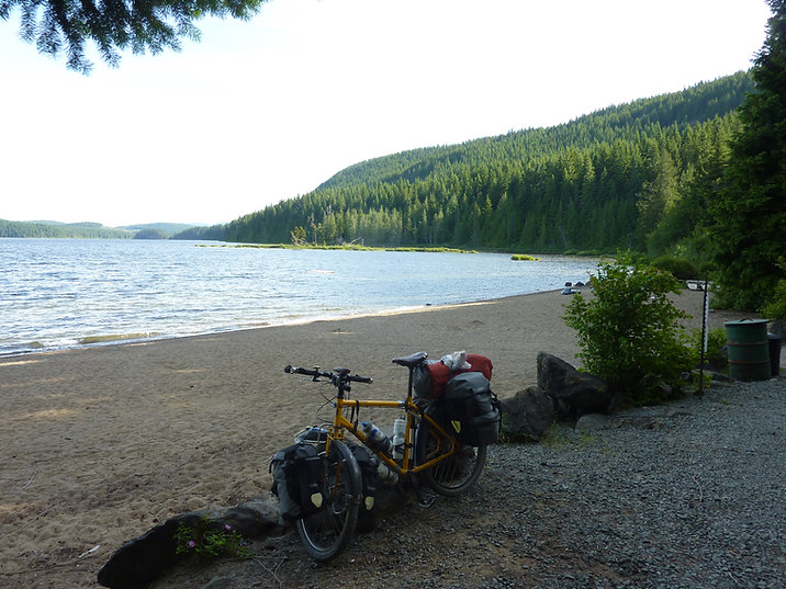 Brewster Lake Rec Camp | Fav campground | backroads riding west from Campbell River | cycle touring Vancouver Island