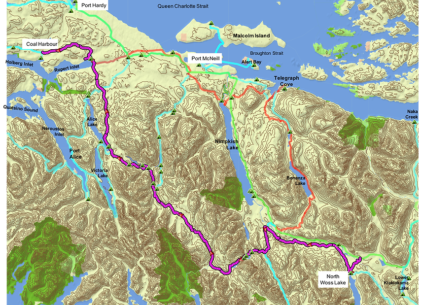 Route map, backroads off the NE highway | bikepacking | cycle touring north Vancouver Island