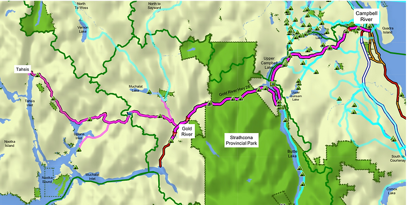 Fav ride area map | Campbell River, Strathcona Park, Gold River & Tahsis | cycle touring Vancouver Island