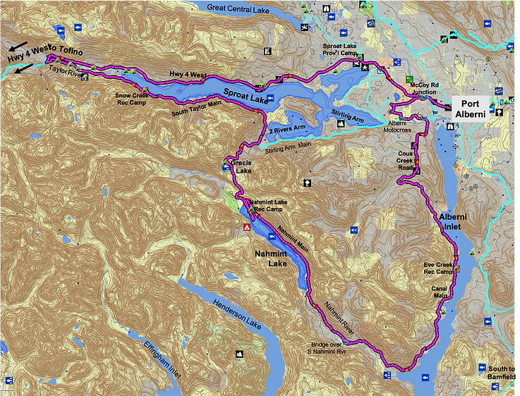 Alberni Inlet Nahmint Lake Fav ride route map