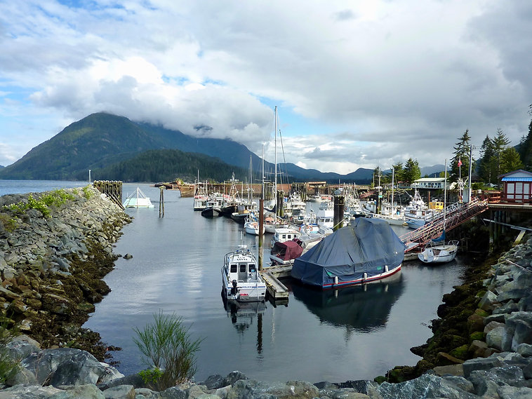 Kelsey Bay marina | bikepacking Sayward area | cycle touring north Vancouver Island