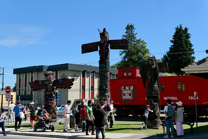 Downtown Duncan totem poles | cycling Cowichan Valley Trail | cycle touring Vancouver Island