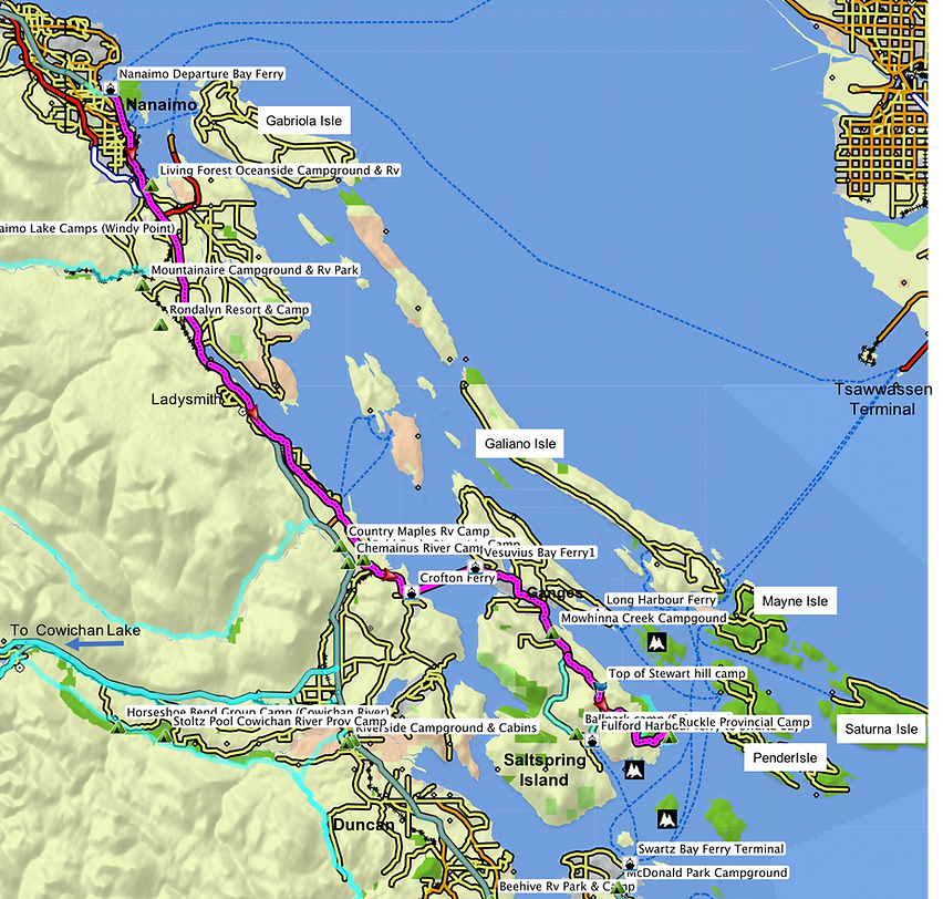 Route map for ride to Ruckle Park | cycle touring Saltspring Island | cycle touring Vancouver Island