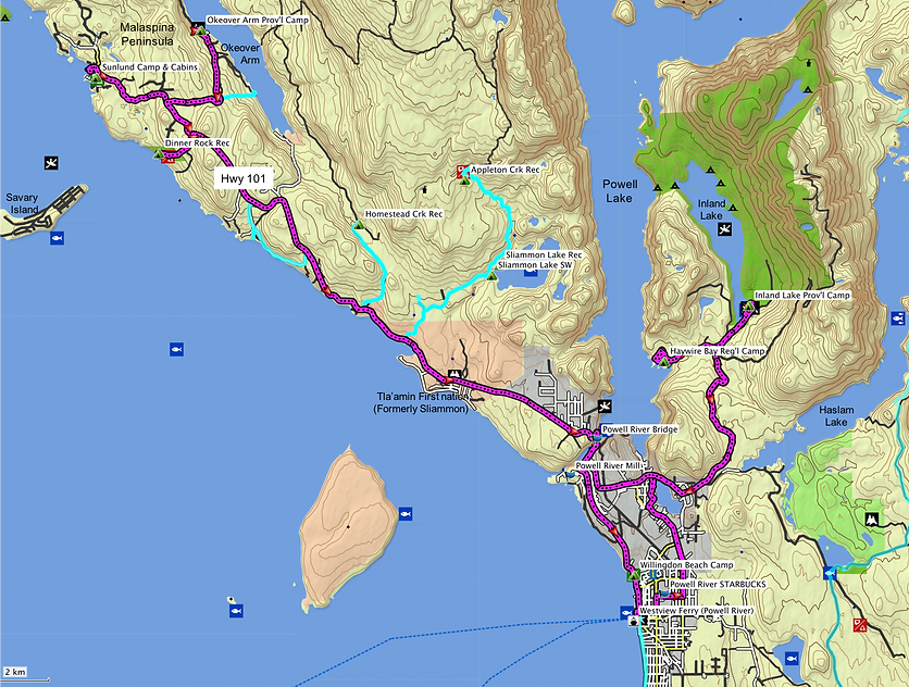 Malaspina Peninsula ride route map | north of Powell River | north Sunshine Coast