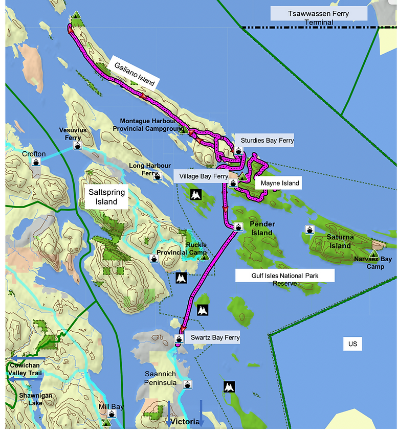 Route map for Galiano & Mayne Islands | cycle touring south Gulf Islands