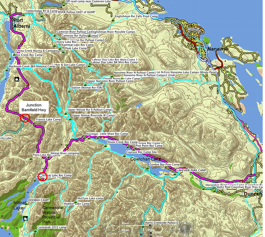 Fav ride Route map | Cowichan Nitinat Port Alberni | cycle touring Vancouver Island