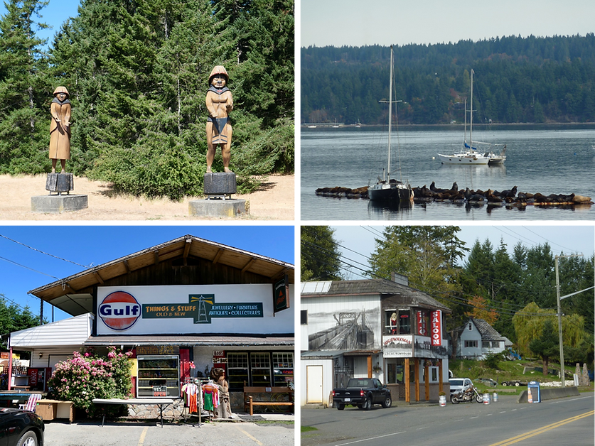 Central Island photo collage | cycle touring Old Island Highway | cycle touring Vancouver Island