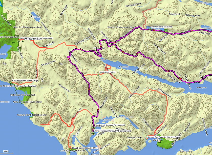 Ride route map, zoom to west | bikepacking NW Vancouver Island | backroad cycle touring