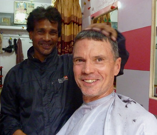 Haricut in Kathmandu, international cycle tour, NW Nepal