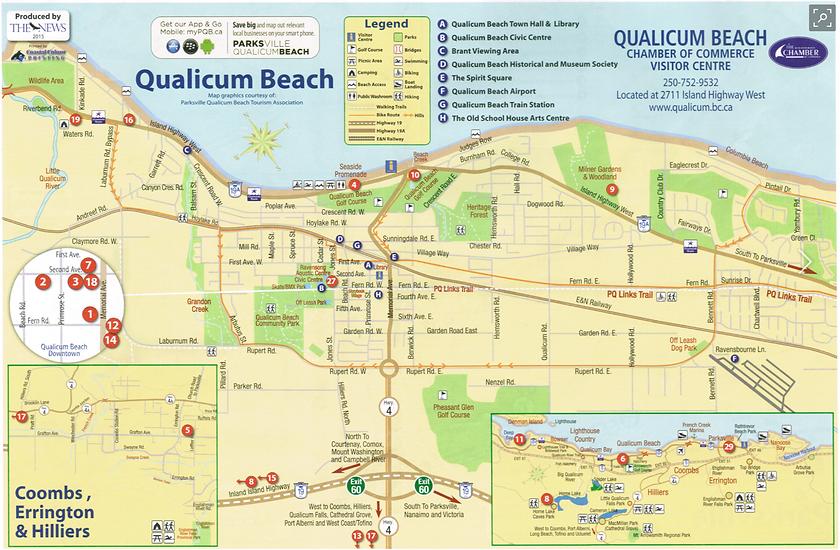 Qualicum Beach cycling routes map | cycle touring Qualicum Beach