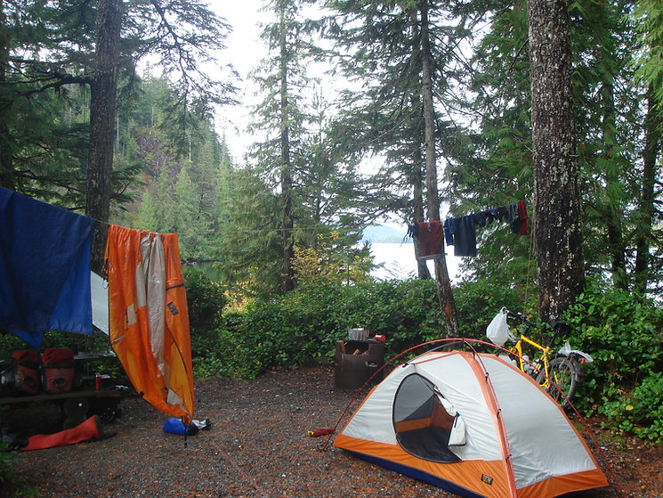 Georgie Lake Rec Camp   bikepacking west from Port Hardy   cycle touring north Vancouver Island