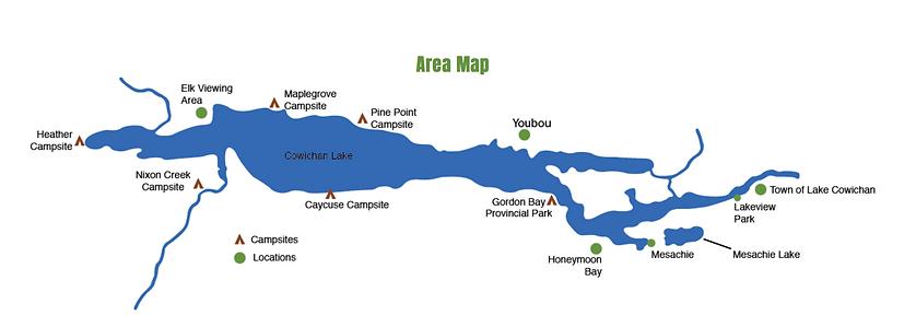Cowichan Lake Map | camping & cycling Cowichan Lake | cycle touring Vancouver Island
