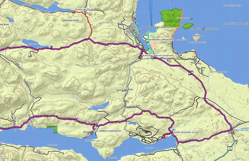Ride route map, zoom east | bikepacking NW Vancouver Island | backroad cycle touring