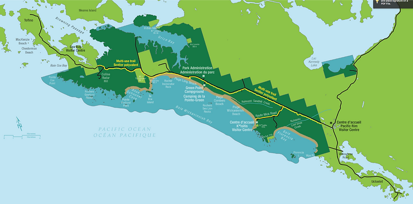 Cycling map Tofino to Ucluelet | cycle touring Tofino
