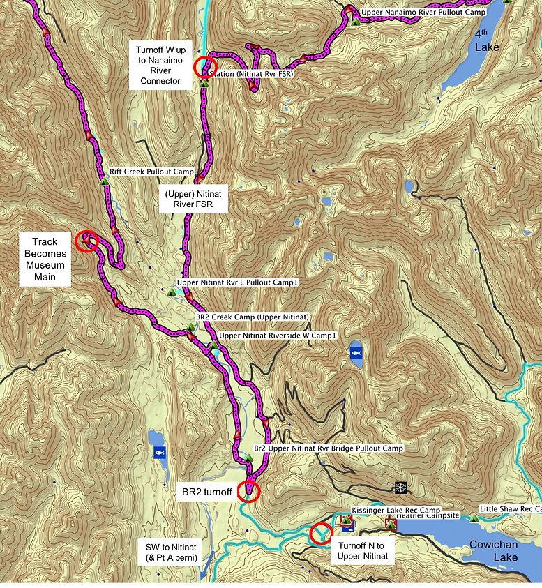 Fav ride route map  |  zoom to Upper Nitinat River & Museum Main  |  bikepacking Vancouver Island