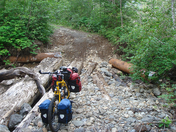 Ortlieb panniers, Thorn Nomad touring bike, backroads bike touring, bikepacking, Vancouver Island