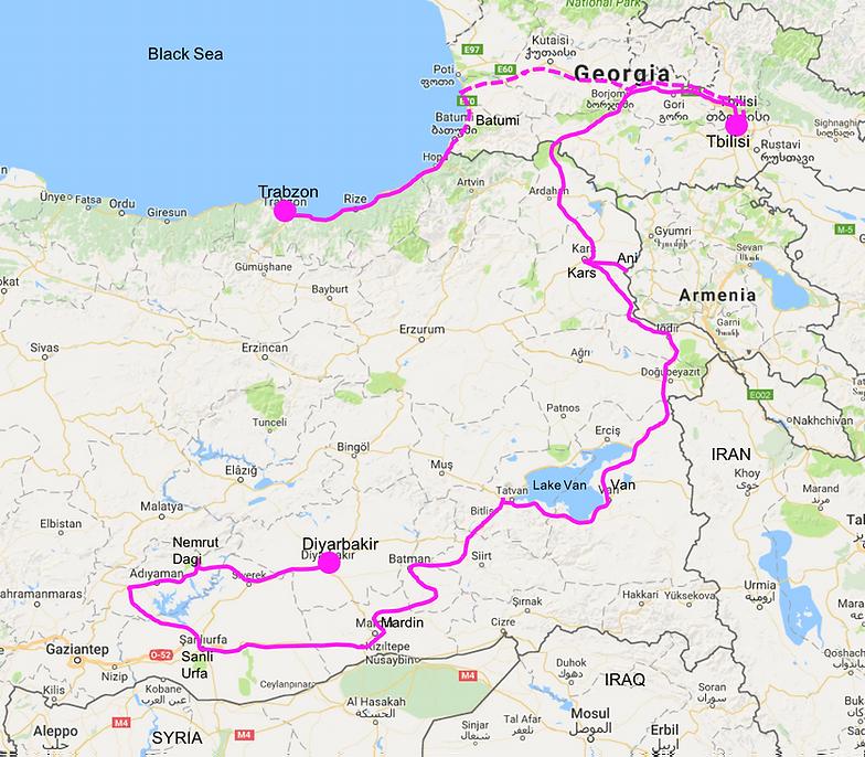 cycle tour route map east turkey georgia