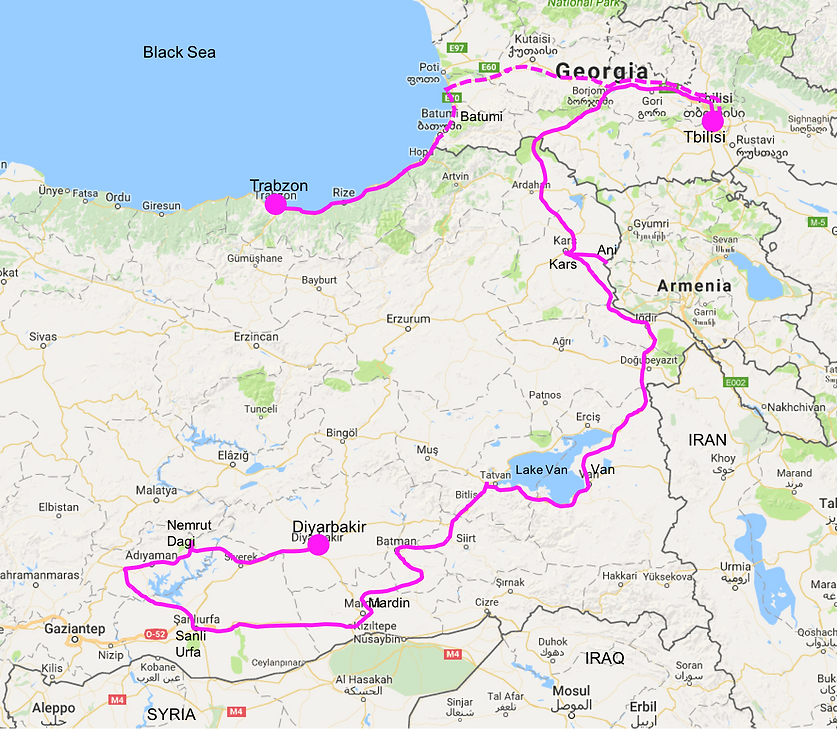 Cycle tour route map | East Turkey & Georgia