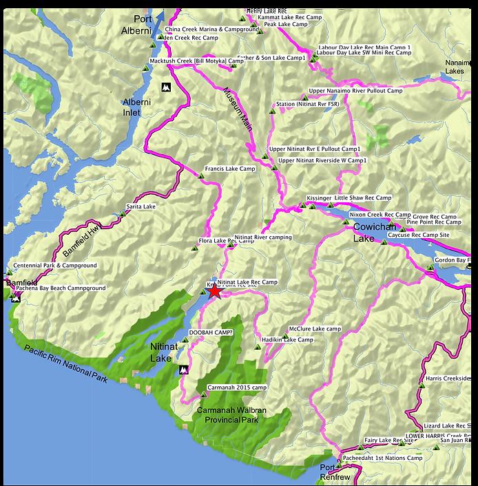 Location & route map | Nitinat Lake Rec Campground | cycle touring Vancouver Island | Carmanah Walbran
