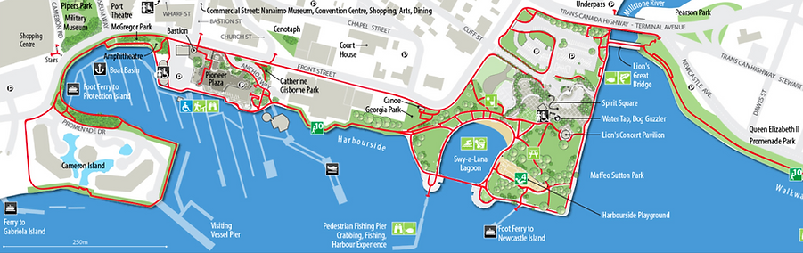 Nanaimo harbour map | ferry connections from Nanaimo harbour | cycle touring Vancouver Island
