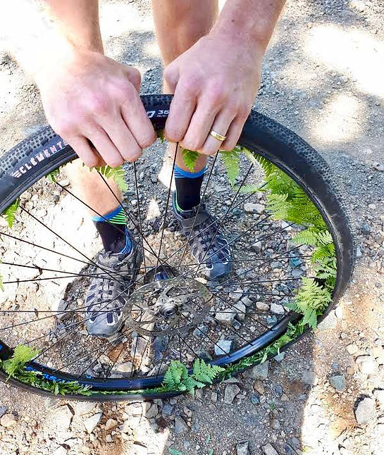 Original flat tire solution | backroads technology for flat tire | bikepacking Port Alberni to Courtenay