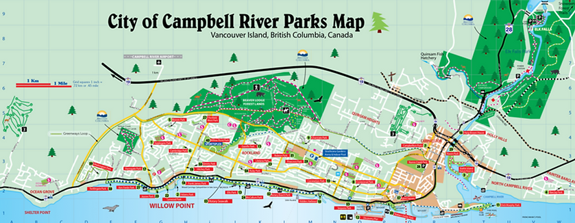 Campbell River Parks Map | cycle touring Campbell River