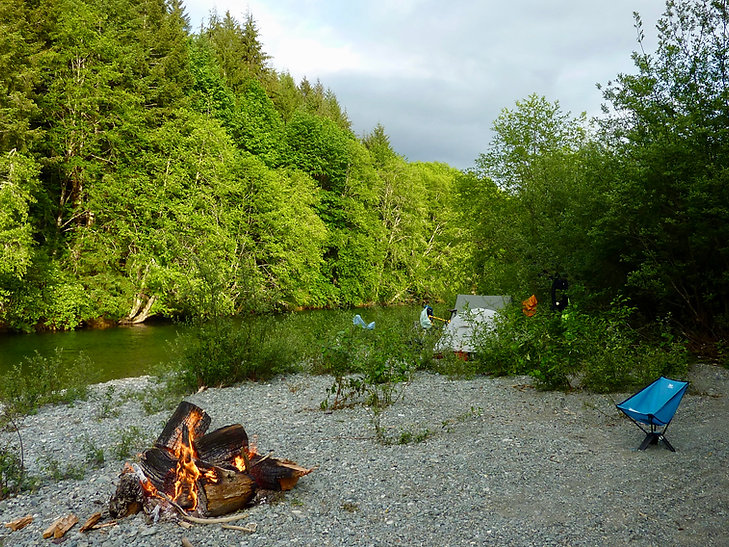 Upper Nitinat River pullout camp | Cowichan Lake to Port Alberni | bikepacking Vancouver Island