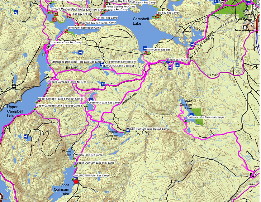 Location & route map | Willington Point Rec Camp | Upper Quinsam Lake | bikepacking Vancouver Island