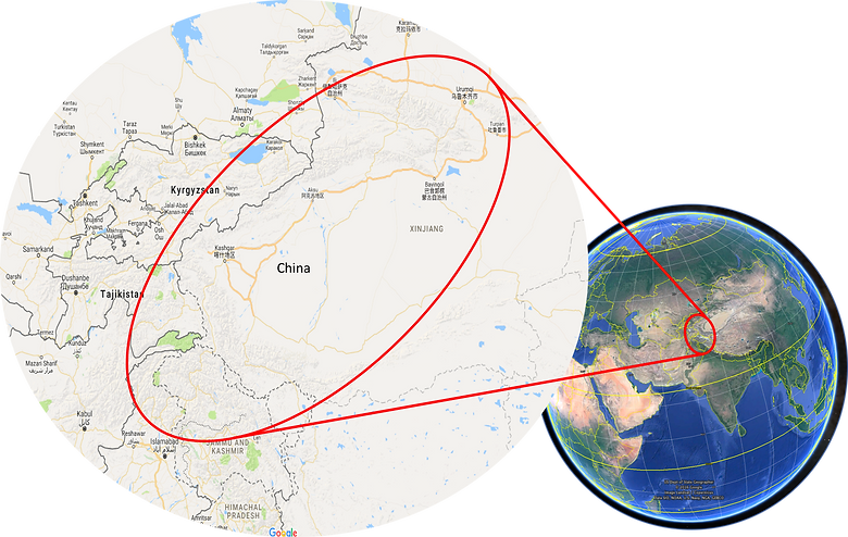 World location map | Xinjiang & Karakorum Highway | Cycle touring