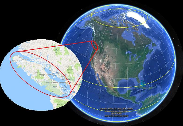 Global location map, Vancouver Island & Sunshine Coast, cycle touring
