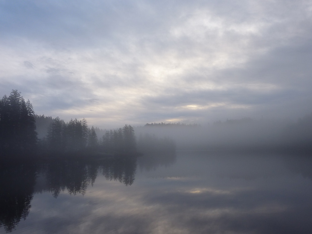 Main Lake Provincial Park - a misty eve, from my campsite