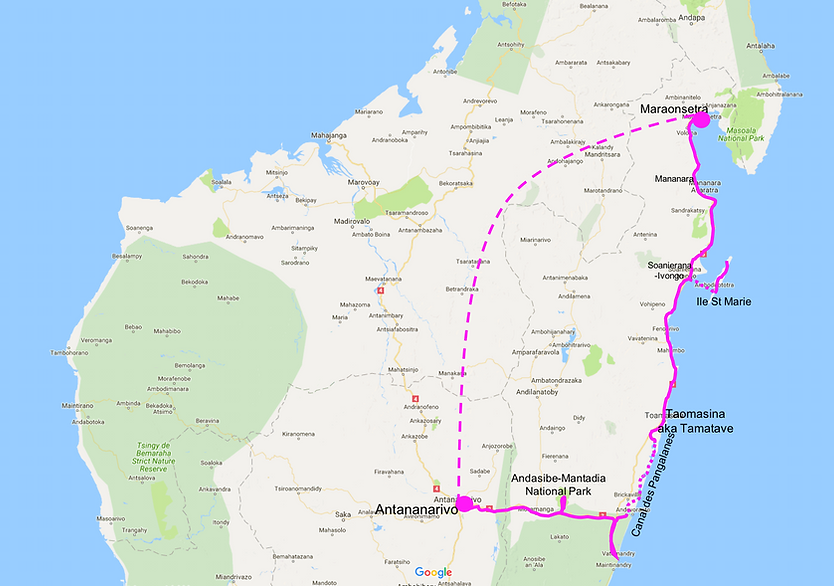 Cycle touring route map | cycle touring NE Madagascar