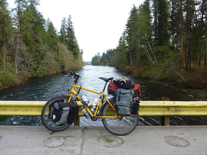 Bridge over Campbell River to Loveland Bay | backroads NW of Campbell River | cycle touring Vancouver Island | bikepacking